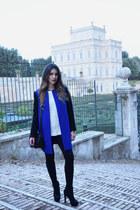 blue coat - white Forever 21 sweater - black Zara pants - black Aldo heels