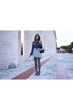 black Chanel bag - silver Forever 21 skirt - navy Forever 21 blouse