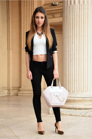 black Guess blazer - light pink Guess bag - black Zara pants