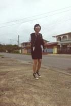 jacket - black Converse shoes - dress - Ray Ban sunglasses