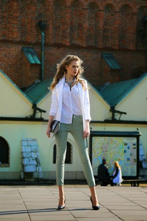 Mohito blazer - reserved shirt - Zara bag - Mohito heels - Mohito pants