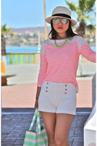 JCrew shirt - JCrew hat - JCrew bag - Zara shorts - Tahari wedges