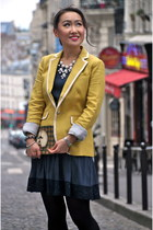 banana republic blazer - Zara dress - DKNY tights - baublebar necklace