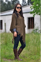 blue Gap shirt - dark brown Anthropologie boots - navy Gap jeans