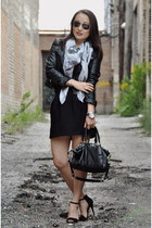 black H&M jacket - off white Zara scarf - black coach bag - black Zara skirt