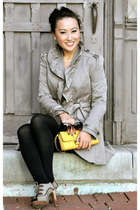 tan Anthropologie coat - yellow banana republic bag - brown Gap skirt