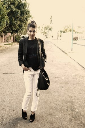 blazer - Zara bag - J L Cook t-shirt - Complot pants - suede Paruolo heels