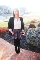 black olsenboye boots - black Target blazer - Forever 21 skirt - white Forever 2