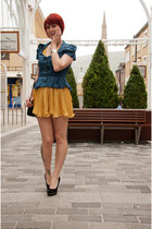 teal bow shoulders Topshop jacket - mustard curled skirt Dorothy Perkins dress