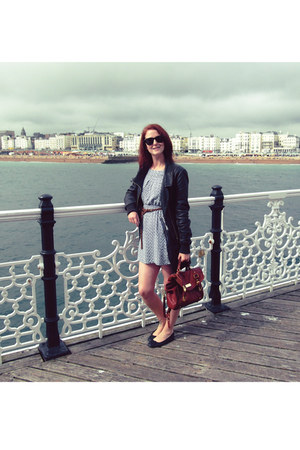 black leather jacket Firetrap jacket - blue cat print Topshop dress