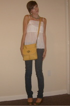necklace - Old Navy top - Charlotte Russe jeans - purse - gianni bini shoes