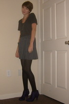 Old Navy t-shirt - necklace - Urban Outfitters skirt - tights - payless boots