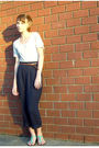 Gray-gap-dress-brown-urban-outfitters-belt-blue-thrifted-pants-green-ecote