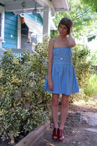 silver American Eagle necklace - blue BB Dakato via Pacsun dress - brown Yellowb
