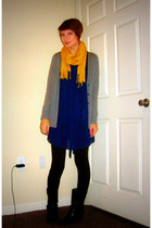 gold Urban Outfitters scarf - blue Forever 21 dress - black Forever 21 leggings