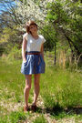 White-thrifted-top-brown-thrfited-belt-blue-ross-skirt-brown-forever-21-sh