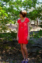 pink J Crew dress - silver American Eagle necklace - blue Urban Outfitters shoes