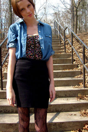 black Urban Outfitters skirt - black Old Navy shoes - blue Old Navy dress