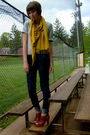 Gray-gap-dress-gold-urban-outfitters-scarf-blue-jcrew-jeans-brown-yellowbo
