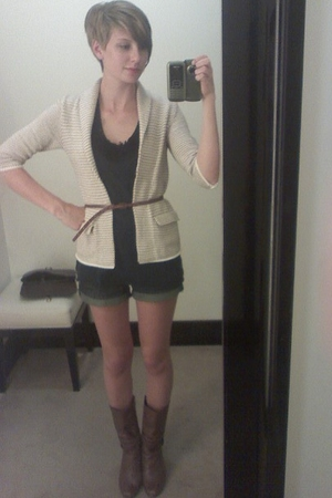 Gap blazer - Silence & Noise top - American Eagle shorts - boots - belt