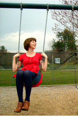 red Cooperative dress - blue Old Navy tights - brown Forever 21 shoes