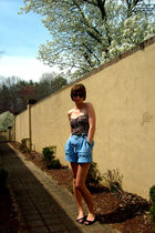 black Silence  Noise top - black Old Navy shoes - blue thrifted shorts