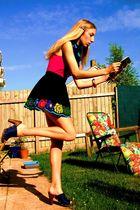 black Topshop skirt - blue vintage scarf - purple H&M accessories