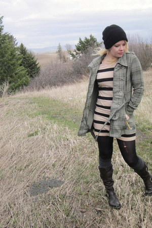 beige H&M dress - olive green Self Esteem coat - black hat - heather gray thigh-