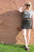 heather gray cut-off sleeves Aeropostale t-shirt - black polka dots Forever 21 s