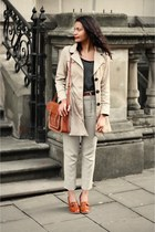 brown leather cambridge satchel co bag - beige black new look coat