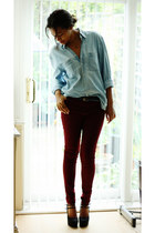 new look heels - burgundy skinny new look jeans - thrifted vintage shirt
