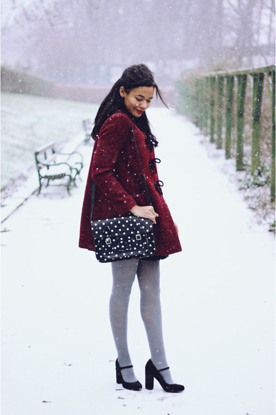 burgundy velvet Topshop coat - grey opaque new look tights