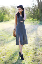 Miss Selfridge dress - black suede River Island boots - black bowler vintage hat