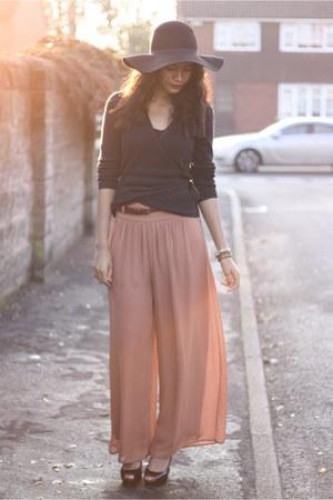 H&M pants - black felt H&M hat - thrifted cardigan - black patent Topshop heels