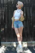 white american apperal shirt - light blue UNIF shorts - ivory Maxstar sneakers