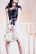Lovely Girl top - belt from top belt - skirt - De Louvre shoes - tony bianco pur