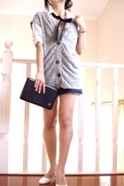 blouse - vest - Just Jeans denim skirt - shoes