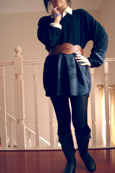 dads sweater - markets shirt - supre belt - stockings - boots