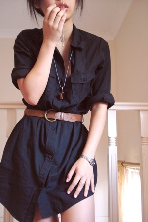 cotton on shirt - supre belt - necklace - earrings