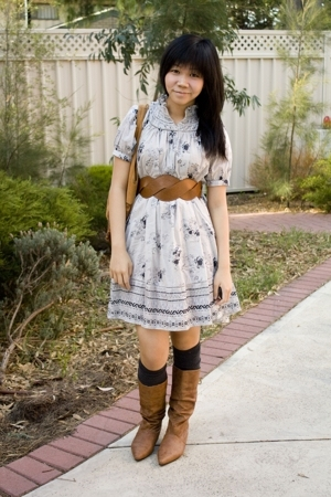 Dotti accessories - supre belt - H&amp;M dress - Novo boots - Dangerfield socks