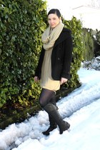 caramel Moochi dress - black Glassons jacket - snood Number 1 Shoe Warehouse sca