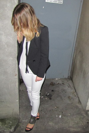 black power shoulder asos blazer - white skinny cotton on jeans