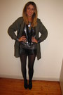 Black-kmart-boots-olive-green-parka-thrifted-jacket