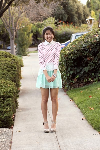 Light Blue Polka Dot Shirt Light Pink Polka Dot Bow