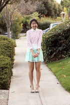 light blue mint chiffon Rire skirt - light pink polka dot bow Forever 21 sweater