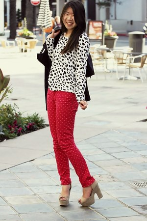 hot pink polka dot Gap jeans - black leather blank nyc jacket