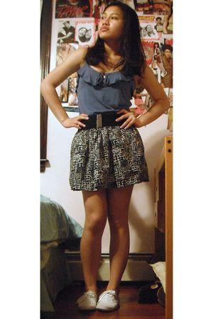 black Forever 21 belt - black Forever 21 skirt - white H&M shoes - blue American