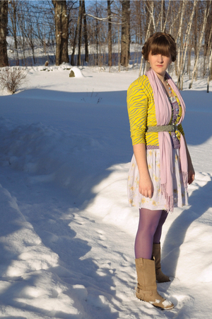 gold delias sweater - free people dress - pink H&amp;M scarf - purple Primark tights