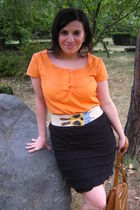 orange shirt - black skirt - burp - by Dragon fly - brown Terranova purse - blue