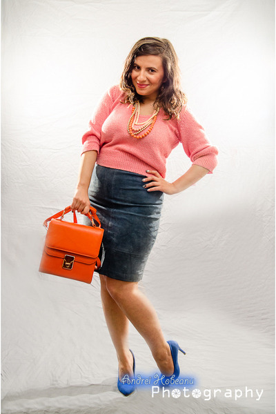 pink sweater - carrot orange The Bag Shop bag - blue vintage skirt